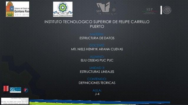INSTITUTO TECNOLOGICO SUPERIOR DE FELIPE CARRILLO  PUERTO  MATERIA:  ESTRUCTURA DE DATOS  DOCENTE:  MTI. NIELS HENRYK ARAN...