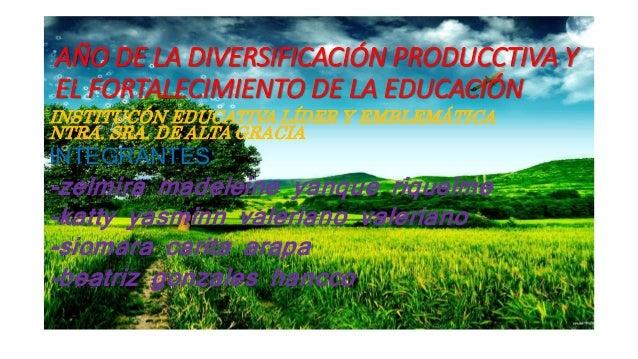 AÑO DE LA DIVERSIFICACIÓN PRODUCCTIVA Y EL FORTALECIMIENTO DE LA EDUCACIÓN INSTITUCÓN EDUCATIVA LÍDER Y EMBLEMÁTICA NTRA. ...