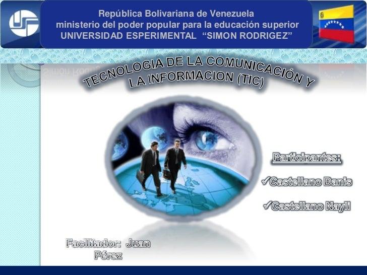 """República Bolivariana de Venezuelaministerio del poder popular para la educación superior UNIVERSIDAD ESPERIMENTAL """"SIMON ..."""