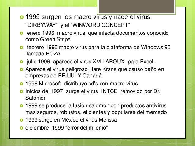 """ 1995 surgen los macro virus y nace el virus""""DIRBYWAY"""" y el """"WINWORD CONCEPT"""" enero 1996 macro virus que infecta documen..."""