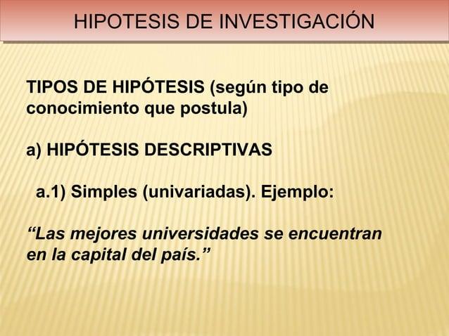 HIPOTESIS DE INVESTIGACIÓN     HIPOTESIS DE INVESTIGACIÓNTIPOS DE HIPÓTESIS (según tipo deconocimiento que postula)a) HIPÓ...