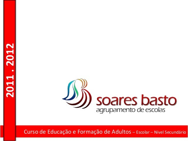 2011 . 2012              Curso de Educação e Formação de Adultos – Escolar – Nível Secundário