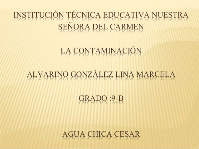 INSTITUCIÓN TÉCNICA EDUCATIVA NUESTRA SEÑORA DEL CARMEN LA CONTAMINACIÓN ALVARINO GONZÁLEZ LINA MARCELA GRADO :9-B AGUA CH...