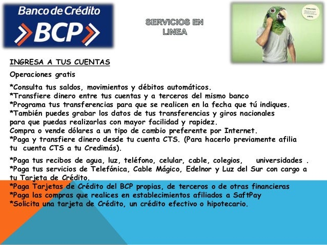 Diapositovas bcp final for Banesco online consulta de saldo cuenta de ahorro