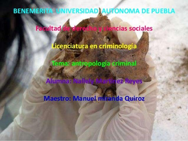 BENEMERITA UNIVERSIDAD AUTONOMA DE PUEBLA Facultad de derecho y ciencias sociales Licenciatura en criminología Tema: antro...