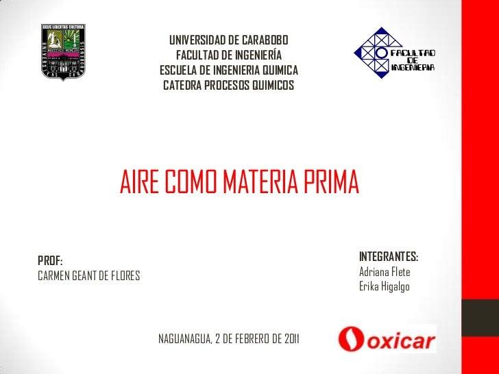 UNIVERSIDAD DE CARABOBO <br />FACULTAD DE INGENIERÍA<br />ESCUELA DE INGENIERIA QUIMICA<br />CATEDRA PROCESOS QUIMICOS <br...