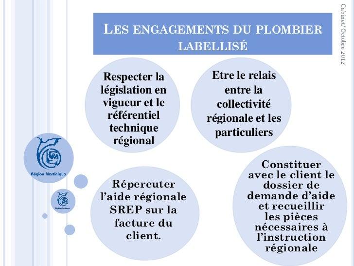 Cabinet/ Octobre 2012LES ENGAGEMENTS DU PLOMBIER                 LABELLISÉ Respecter la        Etre le relaislégislation e...