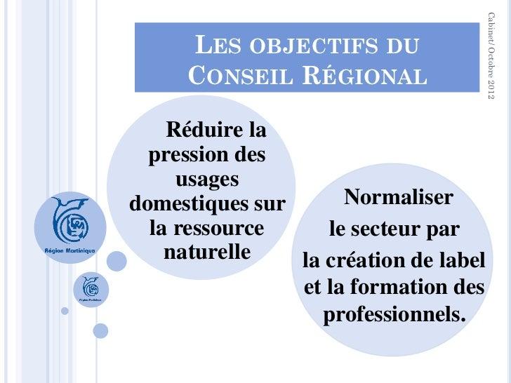 Cabinet/ Octobre 2012     LES OBJECTIFS DU     CONSEIL RÉGIONAL    Réduire la  pression des     usagesdomestiques sur     ...