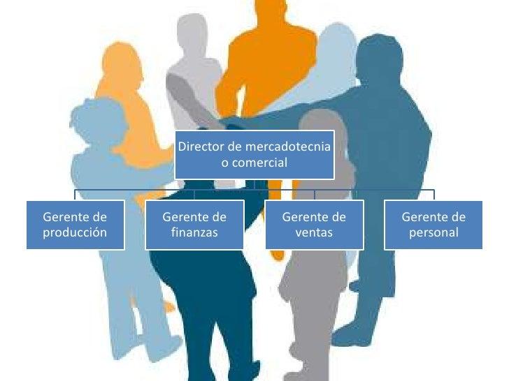 Organización de mercadotecnia por                regiones.                                   Gerente de mercadotecnia y   ...