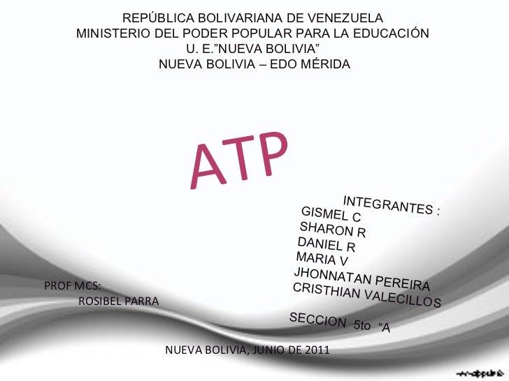 """REPÚBLICA BOLIVARIANA DE VENEZUELA  MINISTERIO DEL PODER POPULAR PARA LA EDUCACIÓN  U. E.""""NUEVA BOLIVIA""""  NUEVA BOLIVIA – ..."""