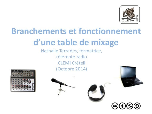 Branchements et fonctionnement  d'une table de mixage  Nathalie Terrades, formatrice,  référente radio  CLEMI Créteil  (Oc...
