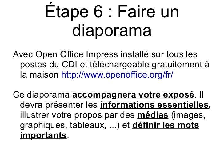 Faire une recherche documentaire - Comment faire un diaporama sur open office ...