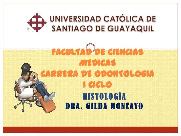 FACULTAD DE CIENCIAS        MEDICASCARRERA DE ODONTOLOGIA         I CICLO        HISTOLOGÍA    DRA. GILDA MONCAYO