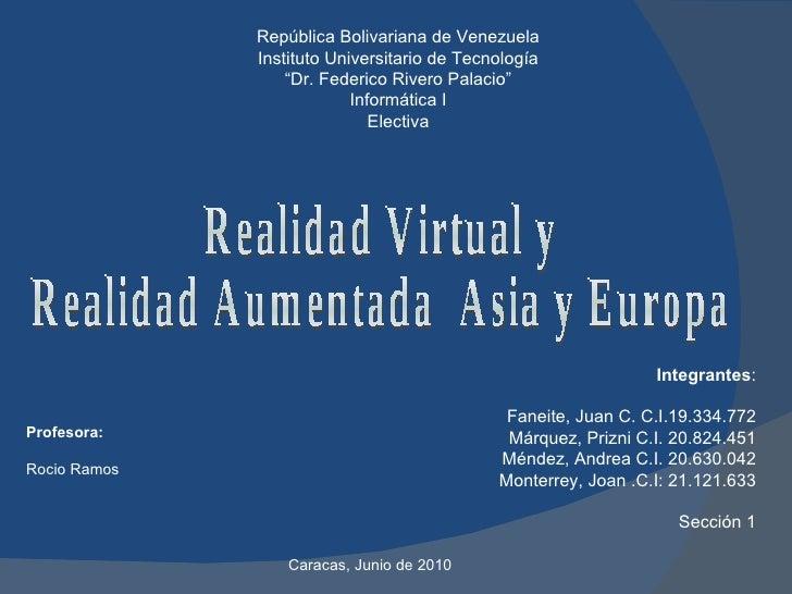 """República Bolivariana de Venezuela Instituto Universitario de Tecnología """" Dr. Federico Rivero Palacio"""" Informática I Elec..."""