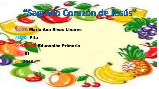 Nombre: María Ana Rivas Linares Docente: Pita Especialidad:Educación Primaria Ciclo: III Año: 2015