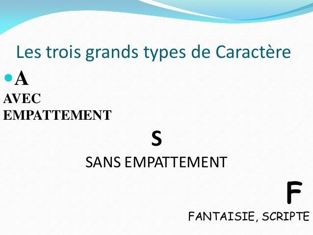 Les trois grands types de CaractèreAAVECEMPATTEMENT                  S         SANS EMPATTEMENT                          ...