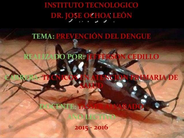 INSTITUTO TECNOLOGICO DR. JOSE OCHOA LEÓN TEMA: PREVENCIÓN DEL DENGUE REALIZADO POR: JEFFERSON CEDILLO CARRERA: TECNICOS E...