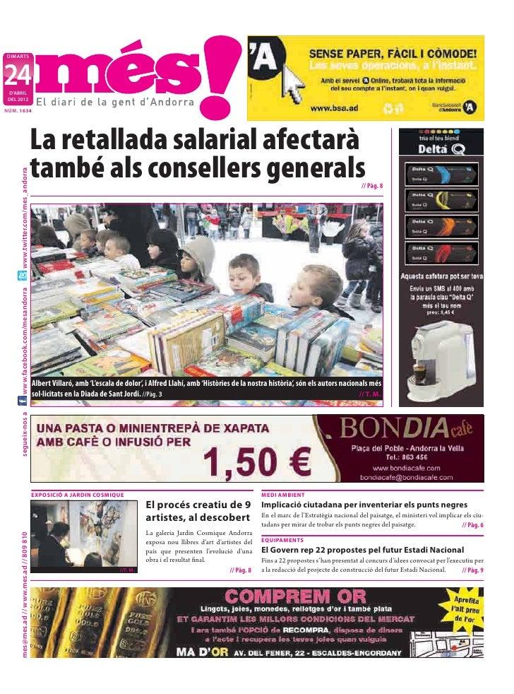 DIMARTS24 D'ABRIL DEL 2012NÚM. 1634                                            La retallada salarial afectarà             ...