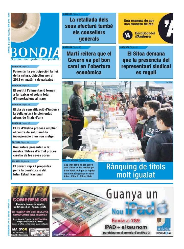 DIMARTS, 24 D'ABRIL DEL 2012 / NÚM. 2.045 / ANY 9                                                                         ...