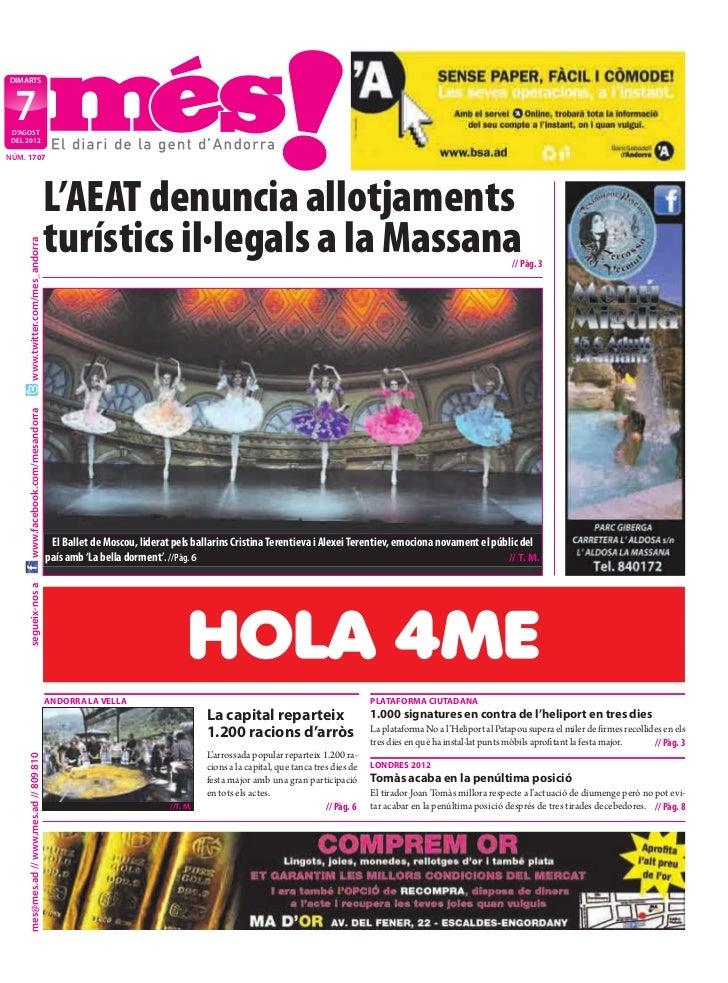 DIMARTS  7 D'AGOST DEL 2012NÚM. 1707                                           L'AEAT denuncia allotjaments               ...