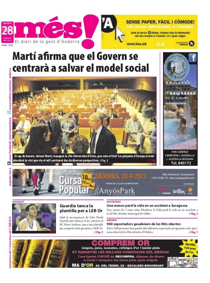 DIMARTS28 D'AGOST DEL 2012NÚM. 1721                                           Martí afirma que el Govern se                ...