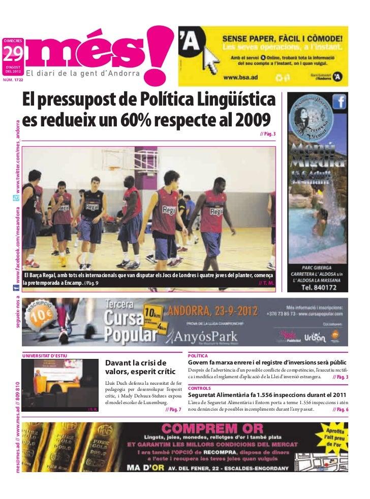 DIMECRES29 D'AGOST DEL 2012NÚM. 1722                                           El pressupost de Política Lingüística      ...