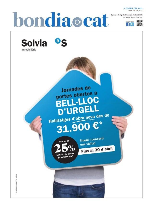 4 D'ABRIL DEL 2013                           NÚMERO 1.740 ANY 8El primer diari gratuït i independent de Lleida            ...