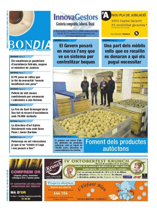 dimarts, 22 d'octubre del 2013 / núm. 2.421 / any 10  NOU PLA DE JUBILACIÓ 100% Capital Garantit 3% rendibilitat garantida...