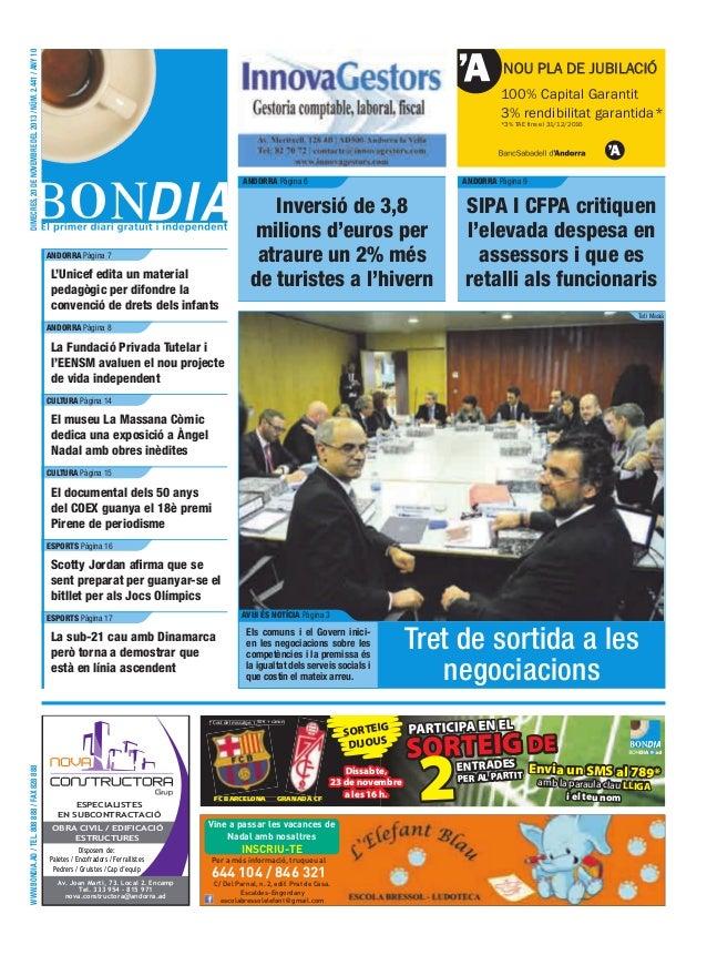 dimecres, 20 de novembre del 2013 / núm. 2.441 / any 10  NOU PLA DE JUBILACIÓ 100% Capital Garantit 3% rendibilitat garant...