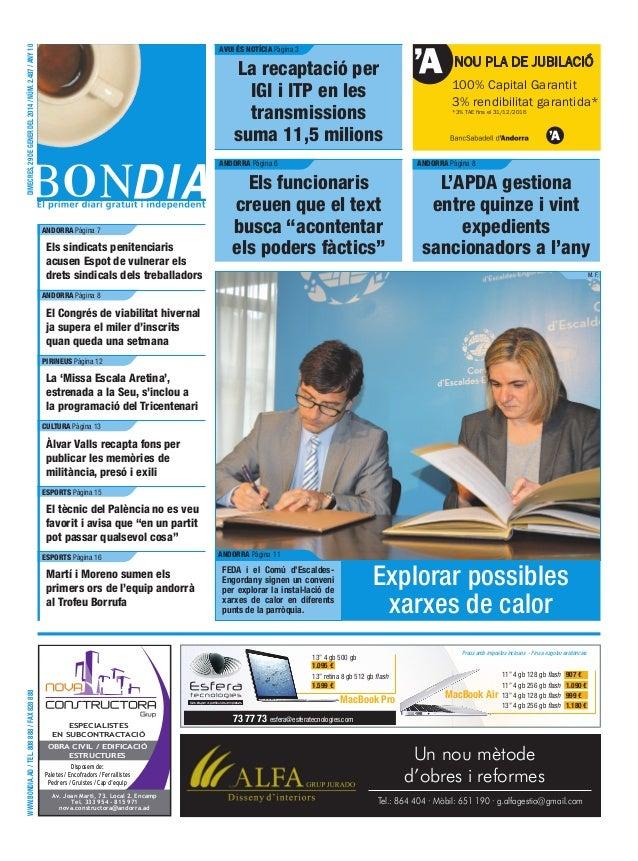 Dimecres, 29 de gener del 2014 / Núm. 2.487 / Any 10  avui és notícia Pàgina 3  La recaptació per IGI i ITP en les transmi...
