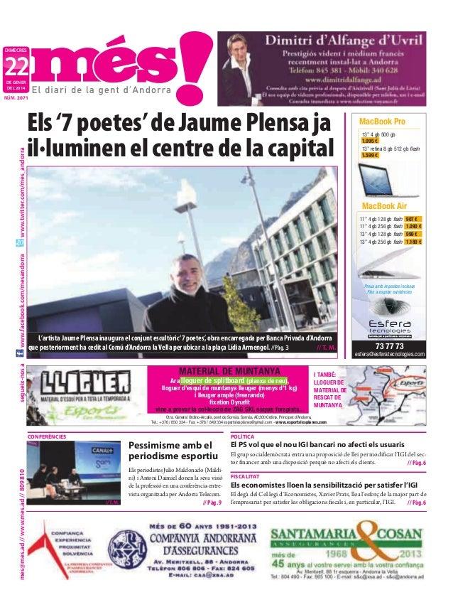 """dimecres  22 de gener deL 2014  Els '7 poetes' de Jaume Plensa ja il·luminen el centre de la capital  MacBook Pro 13"""" 4 gb..."""