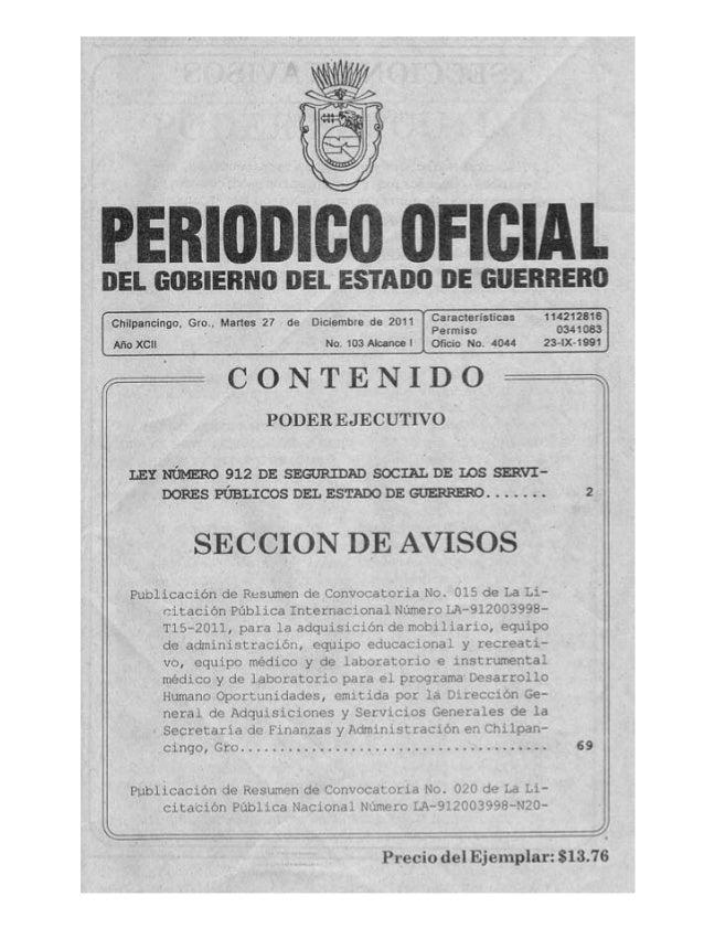 Diario oficial issspeg reforma ley-912