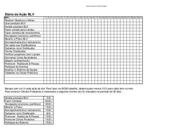 Anexo módulo 2 - Diário de Ação Diário de Ação BLV MÊS: 1 2 3 4 5 6 7 8 9 10 11 12 13 14 15 16 17 18 19 20 21 22 23 24 25 ...