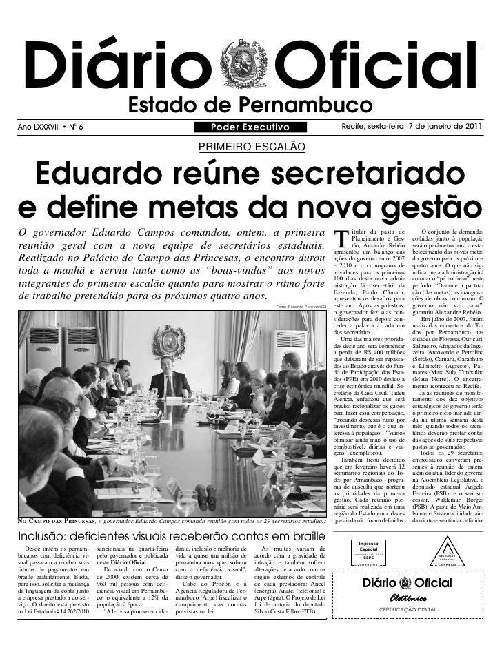 Diário Oficial                              Estado de Pernambuco Ano LXXXVIII • N0 6                                      ...