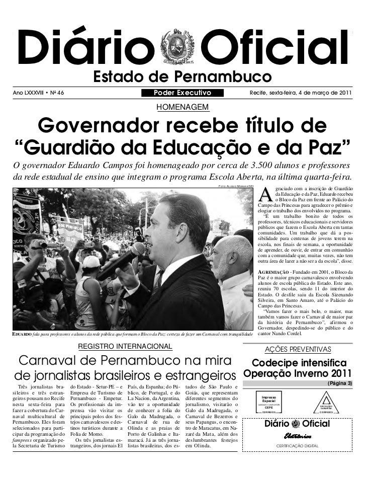 Diário Oficial                            Estado de PernambucoAno LXXXVIII • N0 46                                        ...