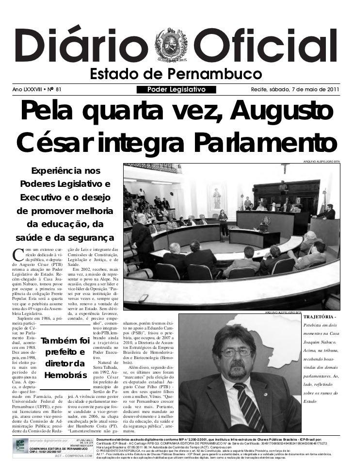Diário Oficial                               Estado de PernambucoAno LXXXVIII         NO 81                              ...