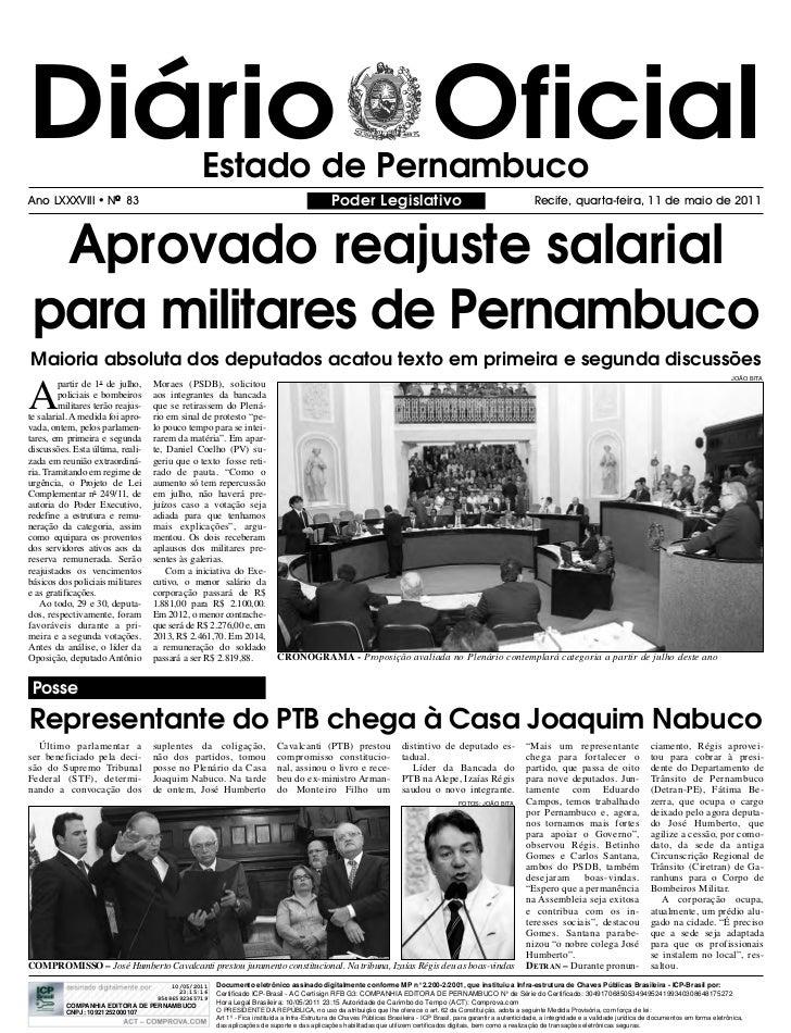 Diário Oficial                                  Estado de PernambucoAno LXXXVIII       l   NO 83                          ...