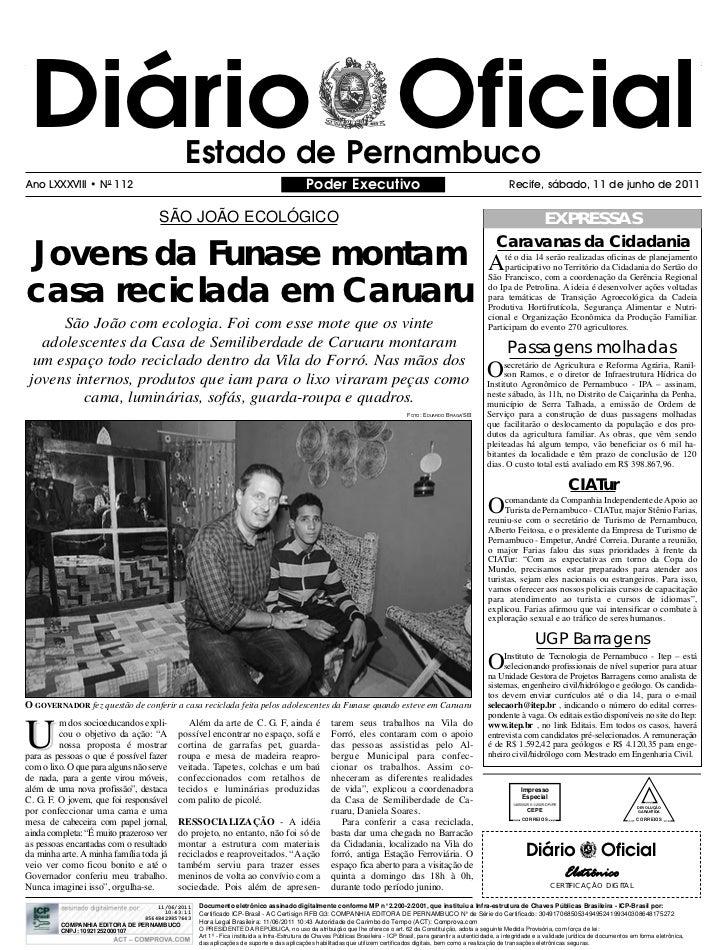 Diário Oficial                             Estado de PernambucoAno LXXXVIII • N0 112                                      ...