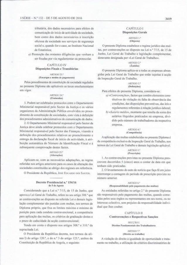 Diario da República Decreto Presidencial 154/16