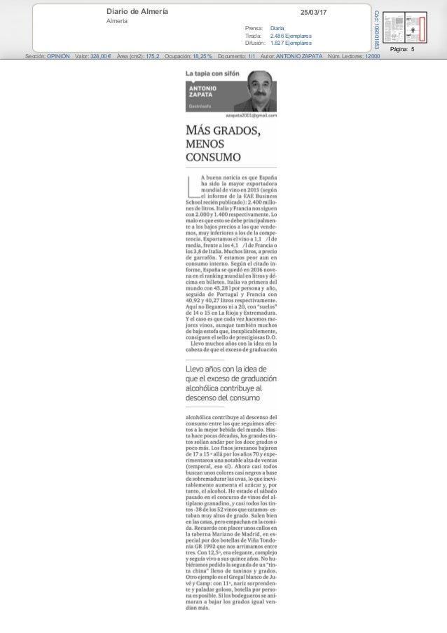 25/03/17Diario de Almería Almería Prensa: Diaria Tirada: 2.486 Ejemplares Difusión: 1.827 Ejemplares Página: 5 Sección: OP...