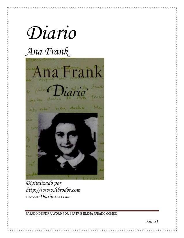 Diario De Ana Frank En Word