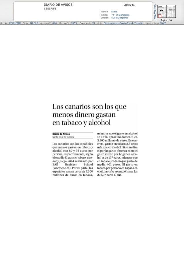 20/05/14DIARIO DE AVISOS TENERIFE Prensa: Diaria Tirada: 10.154 Ejemplares Difusión: 8.265 Ejemplares Página: 20 Sección: ...