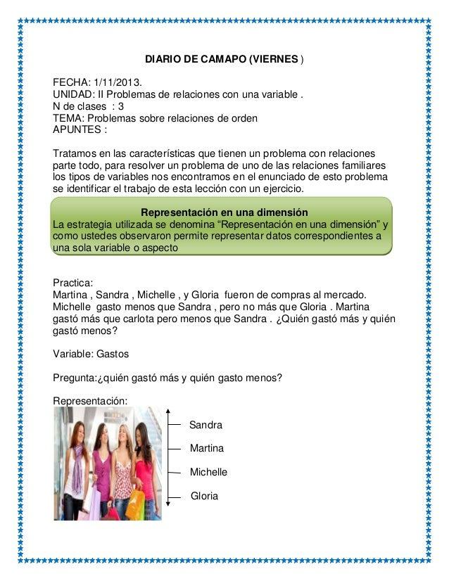 DIARIO DE CAMAPO (VIERNES ) FECHA: 1/11/2013. UNIDAD: II Problemas de relaciones con una variable . N de clases : 3 TEMA: ...