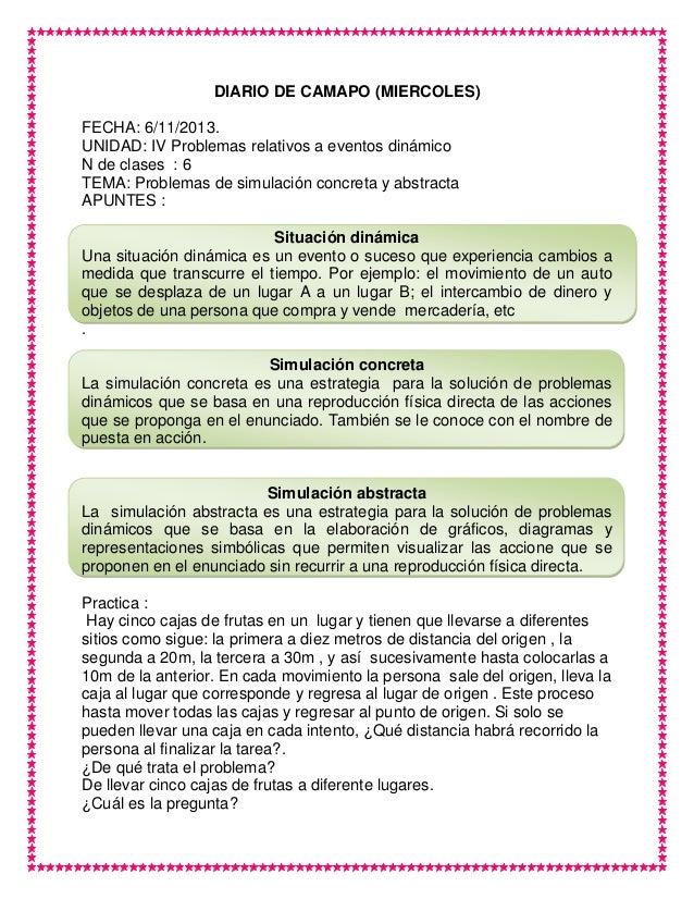 DIARIO DE CAMAPO (MIERCOLES) FECHA: 6/11/2013. UNIDAD: IV Problemas relativos a eventos dinámico N de clases : 6 TEMA: Pro...