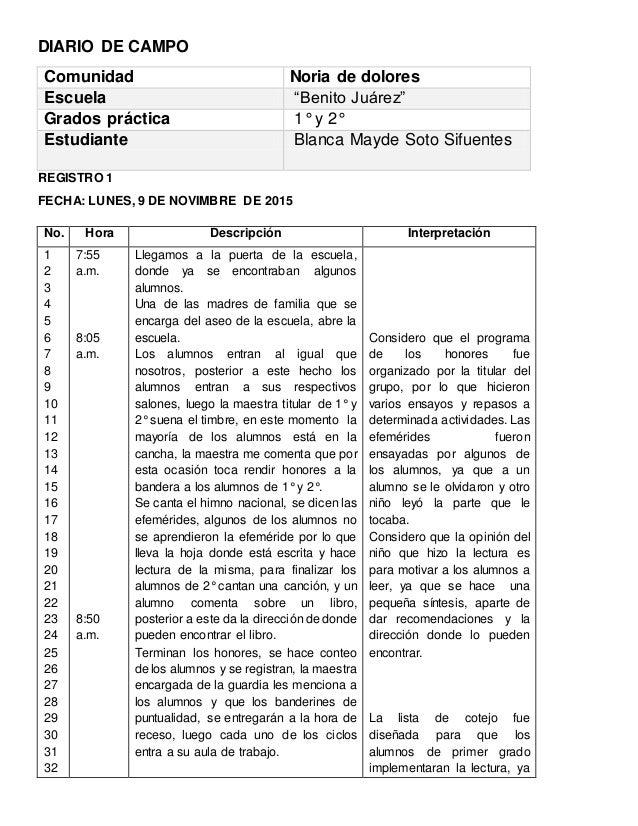 """DIARIO DE CAMPO Comunidad Noria de dolores Escuela """"Benito Juárez"""" Grados práctica 1° y 2° Estudiante Blanca Mayde Soto Si..."""