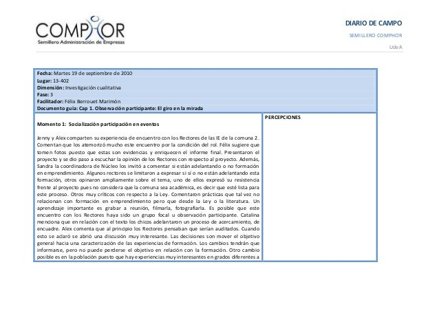 DIARIO DE CAMPO SEMILLERO COMPHOR UdeA Fecha: Martes 19 de septiembre de 2010 Lugar: 13-402 Dimensión: Investigación cuali...