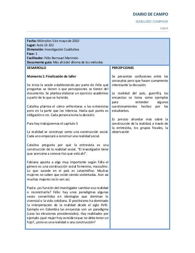 DIARIO DE CAMPO SEMILLERO COMPHOR UdeA Fecha: Miércoles 5 de mayo de 2010 Lugar: Aula 13-322 Dimensión: Investigación Cual...