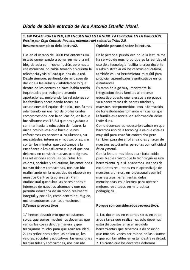 Diario de doble entrada de Ana Antonia Estrella Morel. 1. UN PASEO POR LA RED, UN ENCUENTRO EN LA NUBE Y ATERRIZAJE EN LA ...