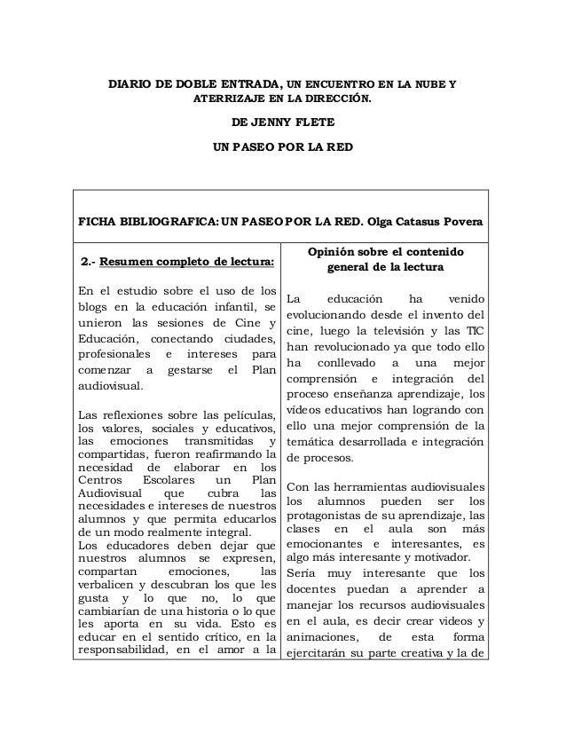 DIARIO DE DOBLE ENTRADA, UN ENCUENTRO EN LA NUBE Y ATERRIZAJE EN LA DIRECCIÓN. DE JENNY FLETE UN PASEO POR LA RED FICHA BI...