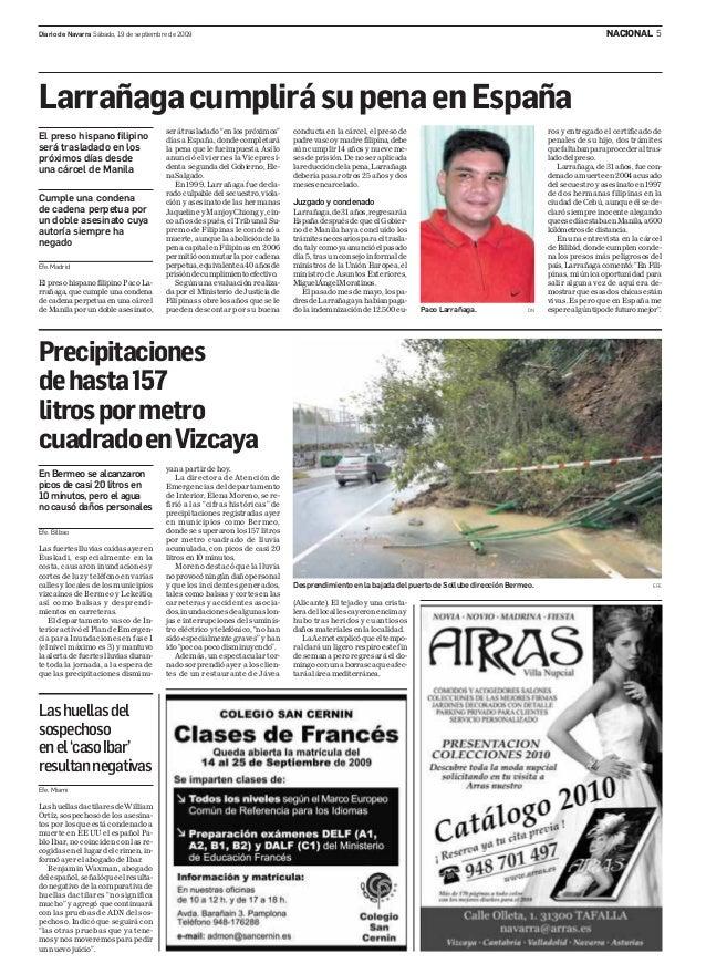NACIONAL 5Diario de Navarra Sábado, 19 de septiembre de 2009 Efe.Madrid El preso hispano filipino Paco La- rrañaga,quecump...